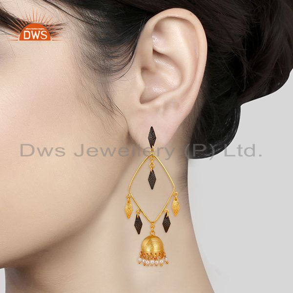 Suppliers 14K Yellow Gold Plated & Black Oxidized Pearl Beads Jhumka Brass Earrings