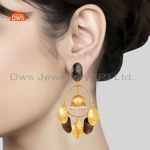 Suppliers 14K Yellow Gold Plated Traditional Handmade Pearl Beads Jhumka Earrings