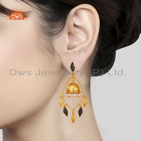 Suppliers Traditional Handmade 14K Gold Plated & Oxidized Pearl Beads Jhumka Brass Earring
