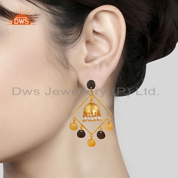 Suppliers 14K Gold Plated & Oxidized Traditional Handmade Pearl Round Jhumka Brass Earring