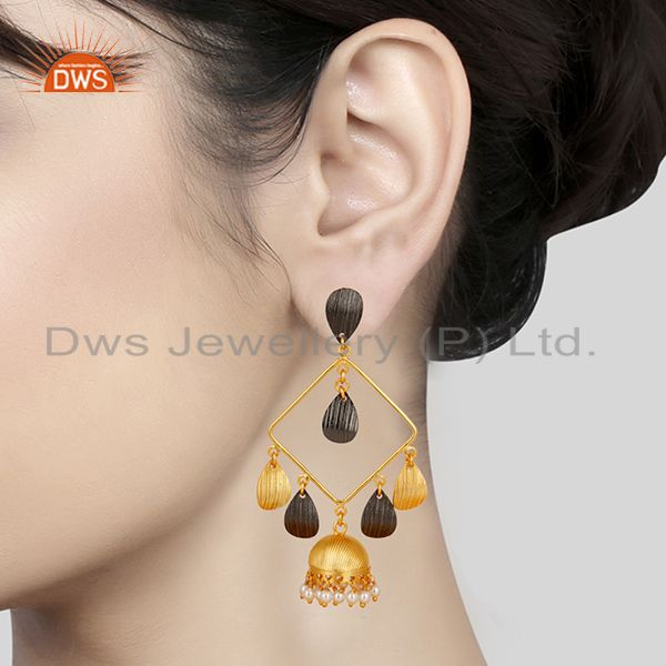 Suppliers 14K Gold Plated & Oxidized Traditional Handmade Pearl Jhumka Brass Earrings