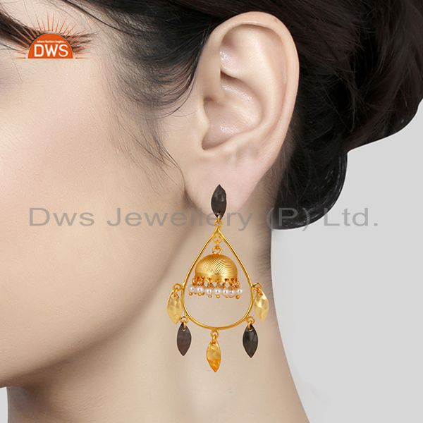 Suppliers Gold Plated & Black Oxidized Traditional Pearl Jhumka Brass Earrings