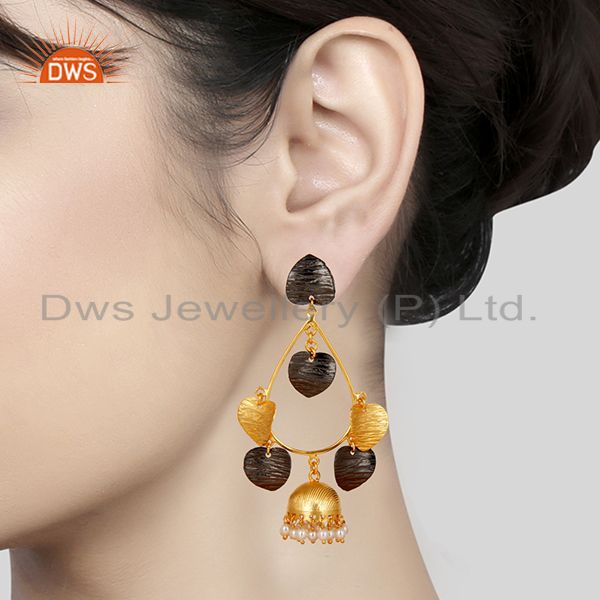 Suppliers 14K Yellow Gold Plated & Oxidized Traditional Pearl Beads Jhumka Brass Earrings