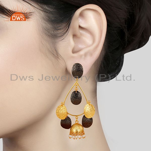 Suppliers 14K Gold Plated Traditional Handmade Round Pearl Beads Jhumka Brass Earrings