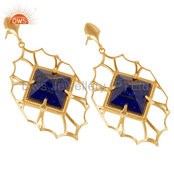 Suppliers 14K Yellow Gold Plated Handmade Lapis Pyramid Style Studs Brass Dangle Earrings