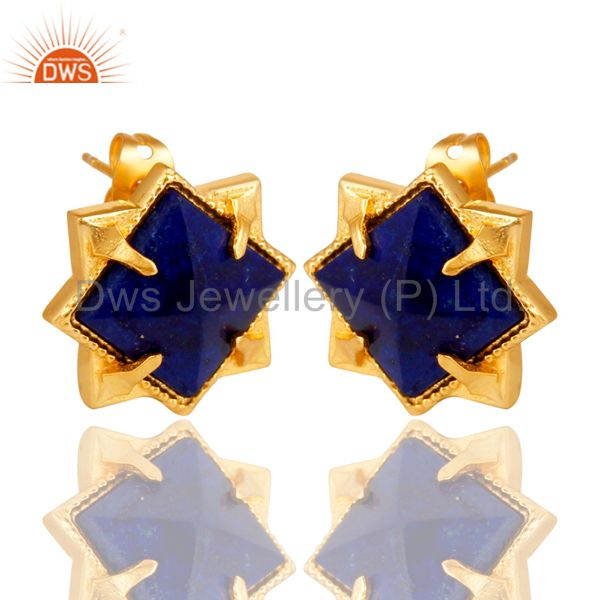 Suppliers 14K Yellow Gold Plated Handmade Lapis Pyramid Style Studs Brass Earrings