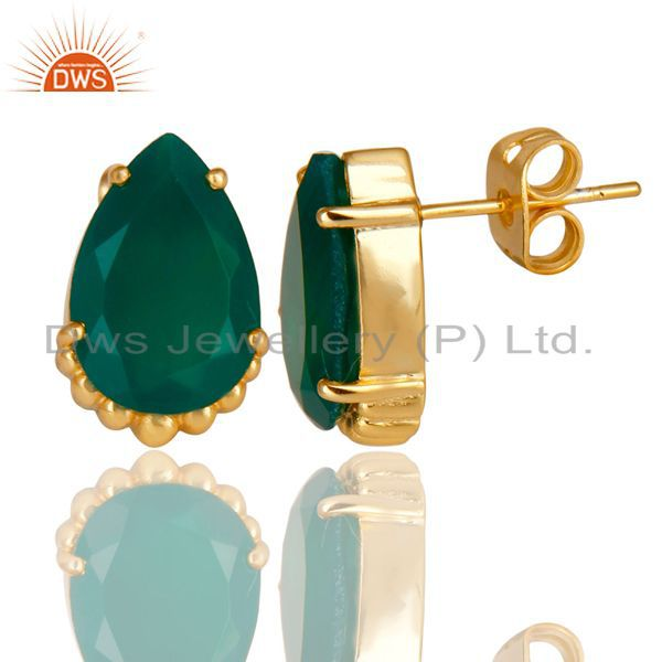 Suppliers 14K Gold Plated Traditional Handmade Green Onyx Prong Set Studs Brass Earrings