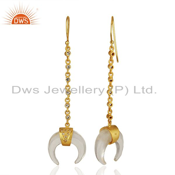 Suppliers Crystal Quartz Crescent Moon 925 Sterling Silver 18k Gold Plated Dangle Earring