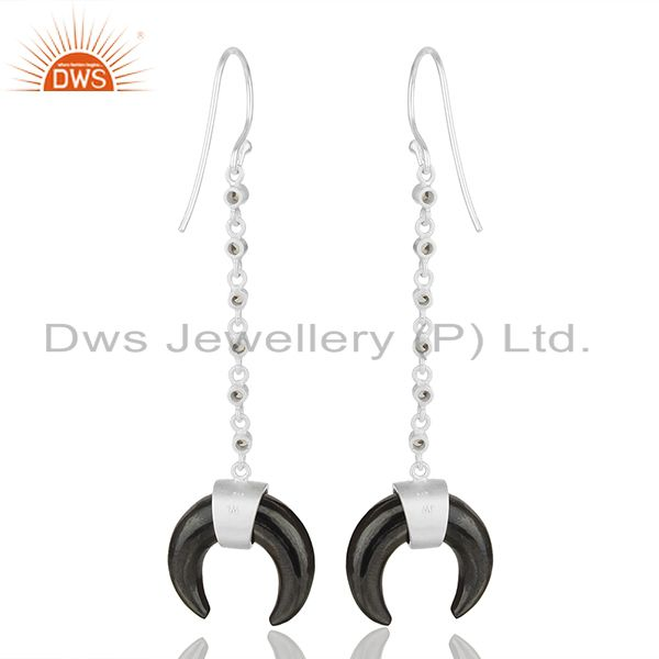 Suppliers White Topaz With Hematite Crescent Moon 925 Sterling Silver Dangle Earring