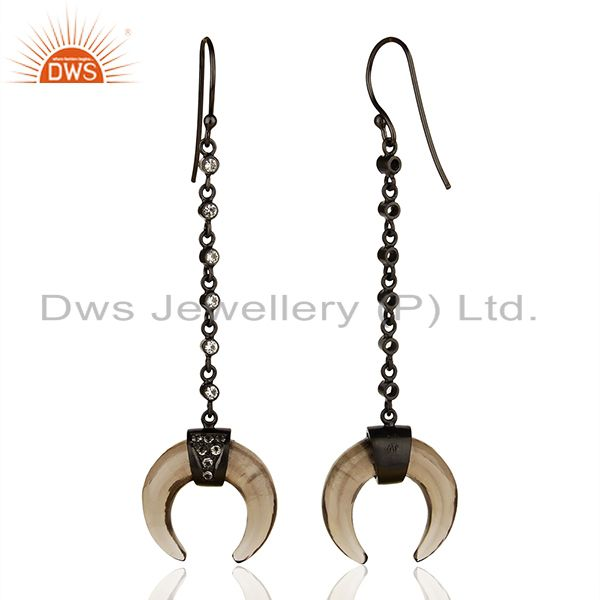 Suppliers Smoky Topaz Crescent Moon Sterling Silver Black Rhodium Plated Dangle Earring