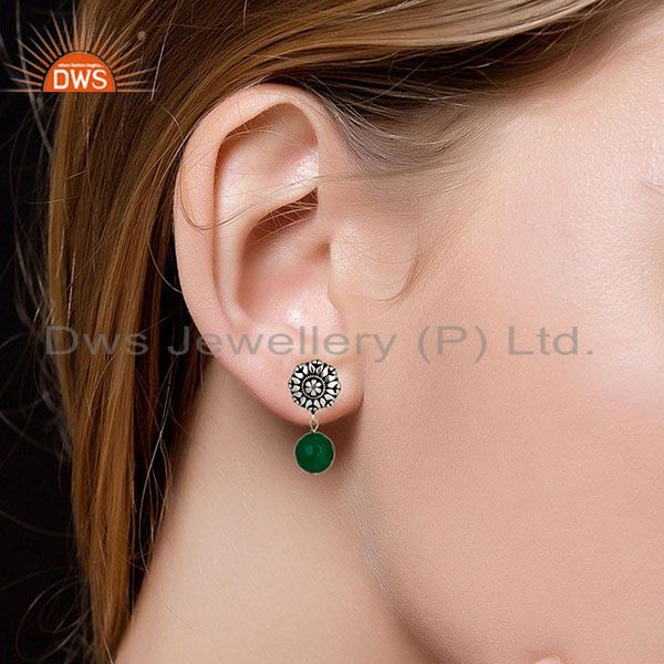 Suppliers Traditional Handmade Oxidized With Silver Plated Green Onyx Drops Brass Earrings