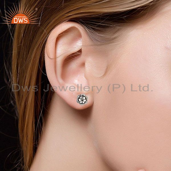 Suppliers Black Oxidized Traditional Handmade Flower Style Studs Brass Earrings Jewelry