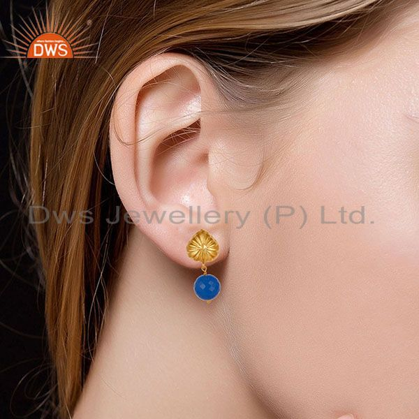 Suppliers Handmade Art Dyed Blue Chalcedony Drop Brass Earrings In 14K Yellow Gold Plated