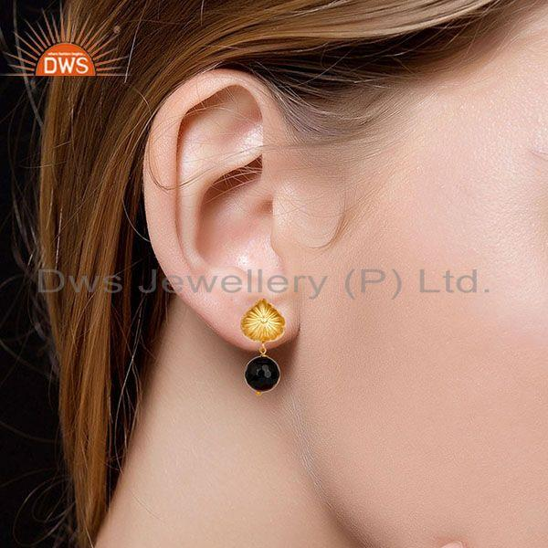 Suppliers Handmade Art Faceted Black Onyx Drops Brass Earrings In 14K Yellow Gold Plated