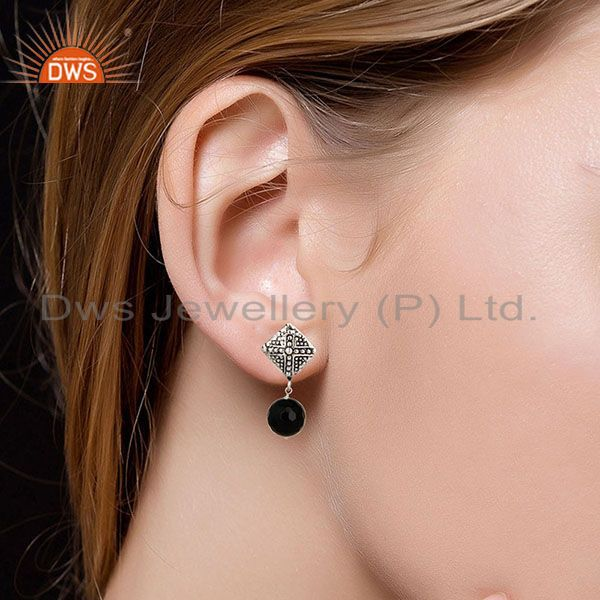 Suppliers Black Oxidized With Silver Plated Ball Style Black Onyx Drops Brass Earrings
