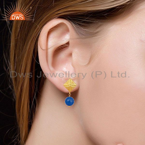 Suppliers 14K Yellow Gold Plated Handmade Ball Style Blue Chalcedony Drop Brass Earrings