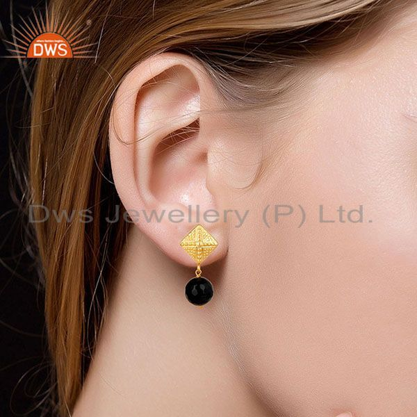 Suppliers 14K Yellow Gold Plated Handmade Ball Style Black Onyx Drops Brass Earrings