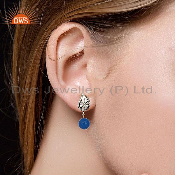 Suppliers Flower Carving Blue Chalcedony Brass Earrings Made In Oxidized Silver Plated