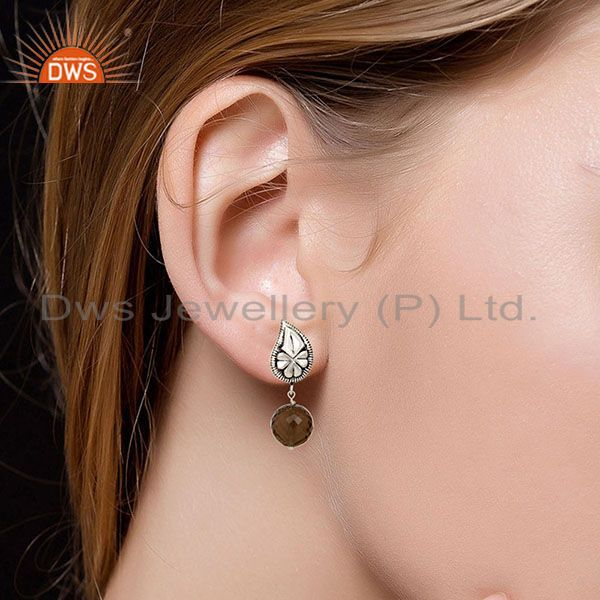 Suppliers Flower Carving Smokey Topaz Brass Earrings Made In Oxidized Silver Plated