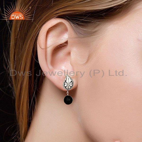 Suppliers Flower Carving Black Onyx Drops Brass Earrings Made In Oxidized Silver Plated