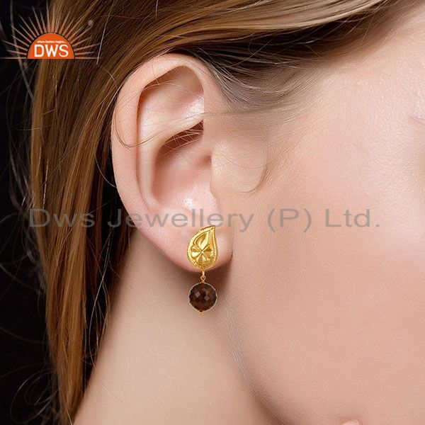 Suppliers Handmade Flower Carving Smokey Topaz Drop Brass Earring Made In 14K Gold Plated