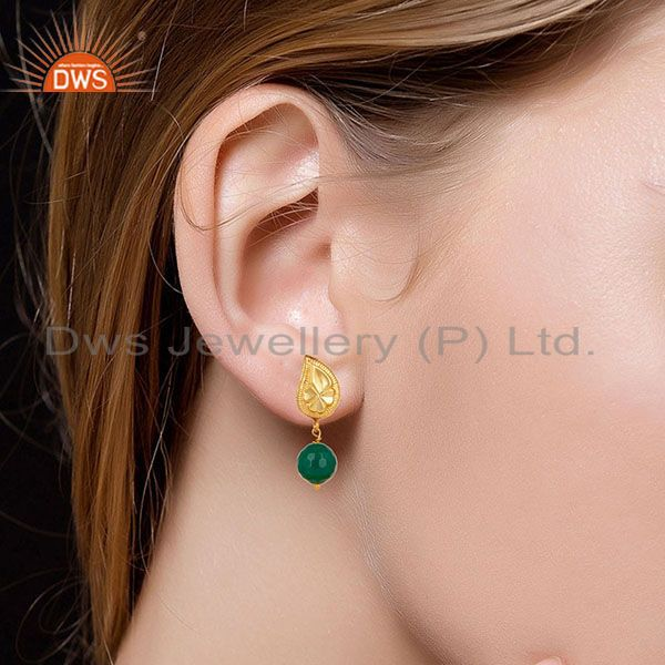 Suppliers Handmade Flower Carving Green Onyx Drops Brass Earrings Made In 14K Gold Plated