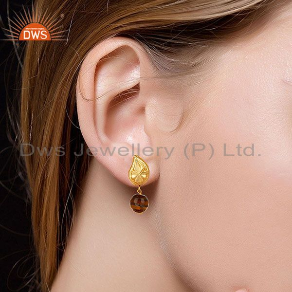 Suppliers Handmade Flower Carving Tiger Eye Drops Brass Earrings Made In 14K Gold Plated