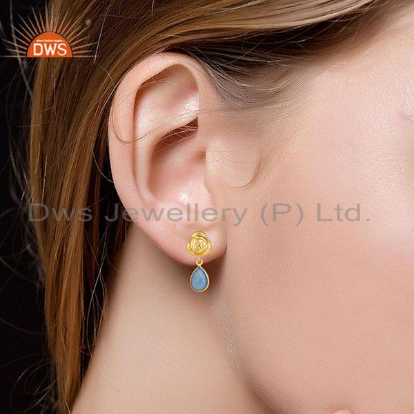 Suppliers Handmade Dyed Chalcedony Bezel Set Drops Brass Earrings Made In 14K Gold Plated