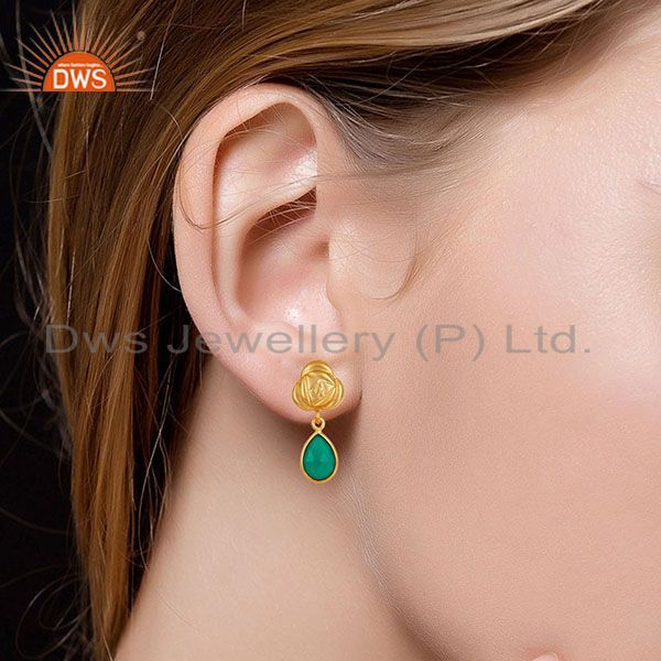 Suppliers Handmade Green Onyx Bezel Set Drops Brass Earrings Made In 14K Gold Plated