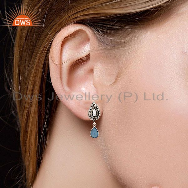 Suppliers Oxidized Silver Plated Beautiful Carving Blue Chalcedony Bezel Brass Earrings