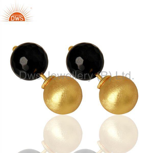 Suppliers Gold Plated 925 Silver Natural Black Onyx Gemstone Stud Earrings
