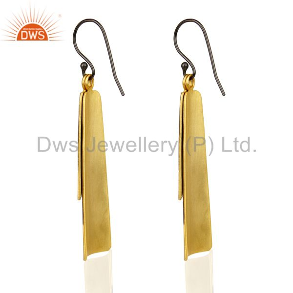 Suppliers 14K Gold Plated Oxidized Handmade Double Textured Dangle Designer Brass Earring