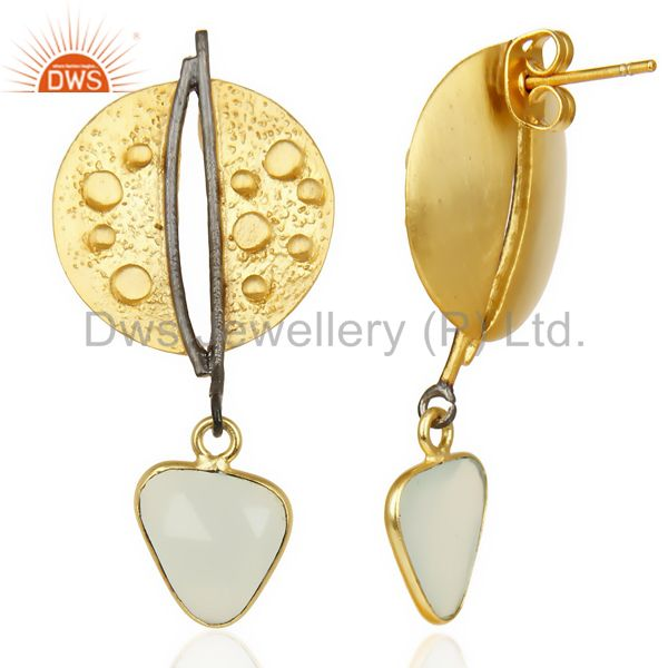 Suppliers Aqua Chalcedony Dangle 14K Gold Plated Textured Design Brass Earrings Jewelry