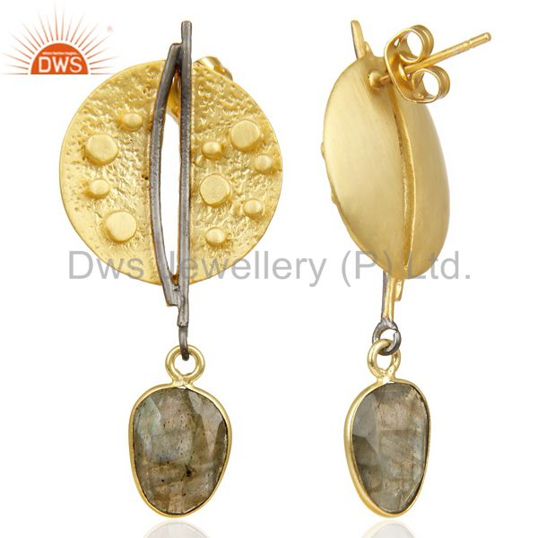 Suppliers Labradorite Dangle 14K Yellow Gold Plated Textured Design Brass Earrings Jewelry
