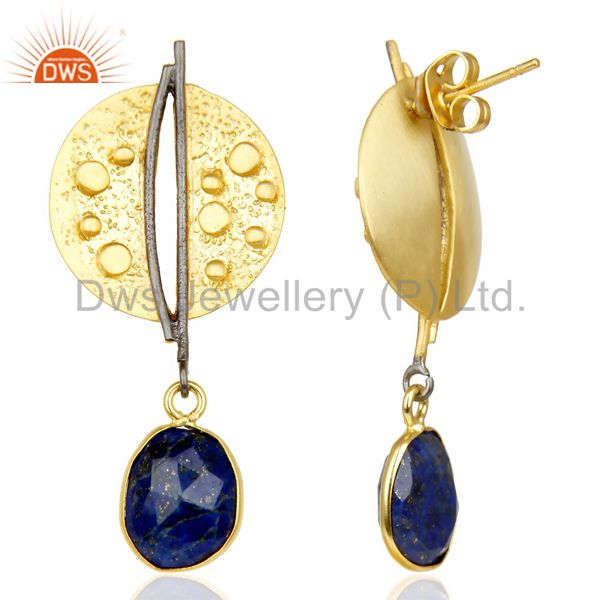 Suppliers Lapis Lazul Dangle 14K Yellow Gold Plated Textured Design Brass Earrings Jewelry