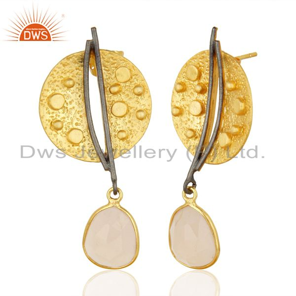 Gold Plated Texture Designer Boutique Rose Chalcedony Earrings From Jaipur India