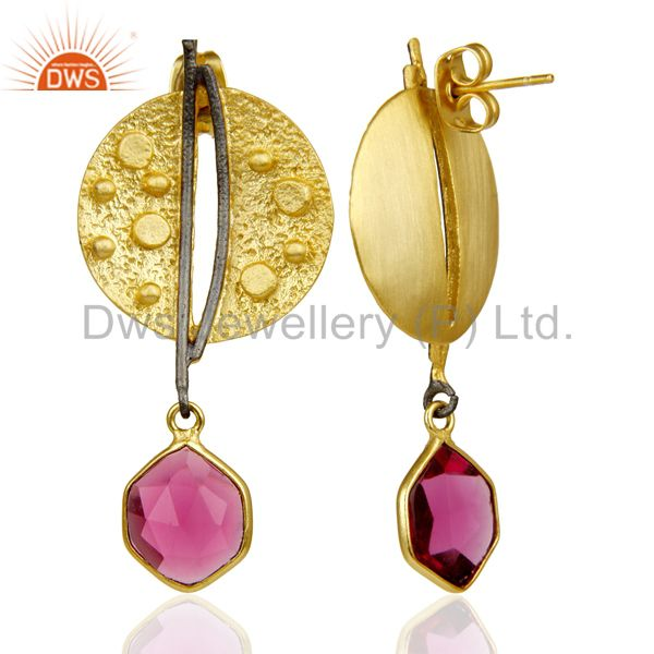 Suppliers Gold Plated Texture Designer Boutique Earring Pink Fashion Jewelry