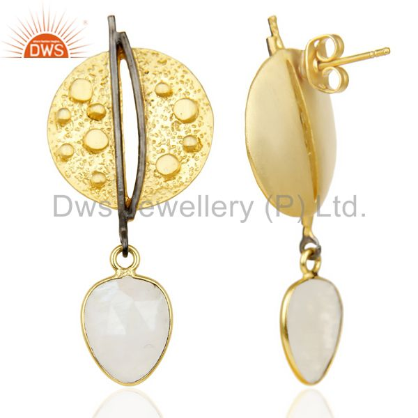 Suppliers Gold Plated Texture Designer Boutique Earring Rainbow Moonstone Fashion Jewelry