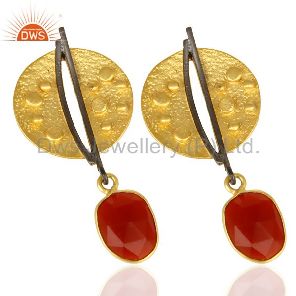 Suppliers Red Onyx Dangle 14K Yellow Gold Plated Textured Design Brass Earrings Jewelry