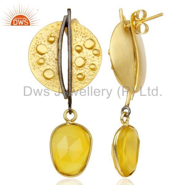 Suppliers 14K Gold Plated Traditional Handmade Dyed Chalcedony Dangle Fashion Earrings