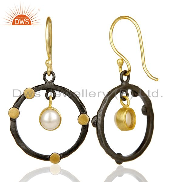 Suppliers 14K Gold Plated Traditional Handmade Round Fashion Pearl Drops Brass Earrings