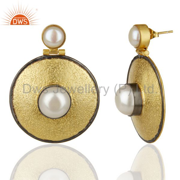 Suppliers 14K Yellow Gold Plated Traditional Handmade Pearl Drops Earrings Gift Jewelry