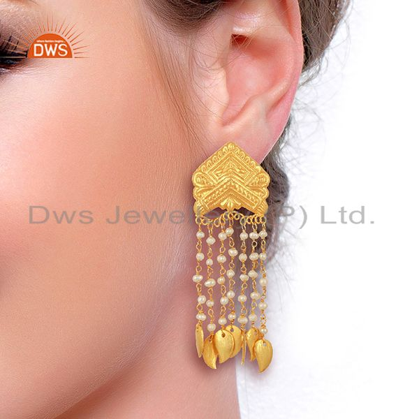 Suppliers Pearl Bead Chain Tassel Sterling Silver 18k Yellow Gold Plated Earring Jewellery