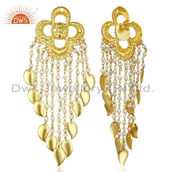 Suppliers Pearl Chandelier 18K Gold Plated Sterling Silver Earrings Traditional Jewelry
