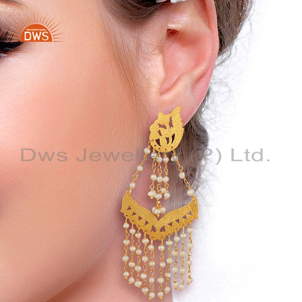 Suppliers Pearl Strings Sterling Silver 18k Gold Plated Traditional Chandelier Earrings