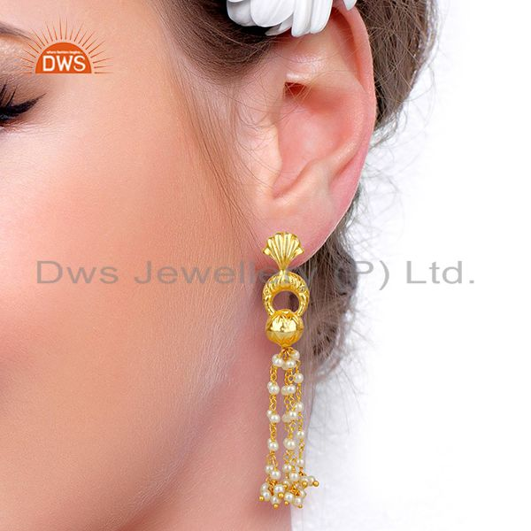 Suppliers 14K Gold Plated Natural Pearl Traditional Chandelier Earrings Fashion Jewelry