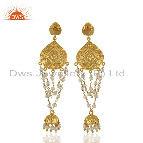 Suppliers Pearl Jhumka 18K Yellow Gold Plated Fashion Earrings Traditional Jewelry