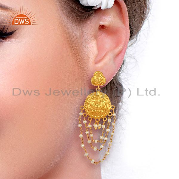 Suppliers Draping Pearls 925 Sterling Silver 14K Yellow Gold Plated Chandelier Earrings