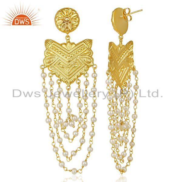 Suppliers 14K Yellow Gold Plated Natural Pearl Party Wear Jhumka Earrings Jewelry