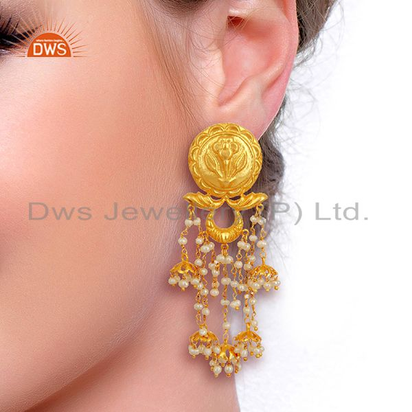 Suppliers Pearl Jhumka Sterling Silver 18K Gold Plated Earrings Traditional Jewellery